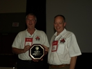 Dave & Andy accept Abingdon Award plaque for OMGC